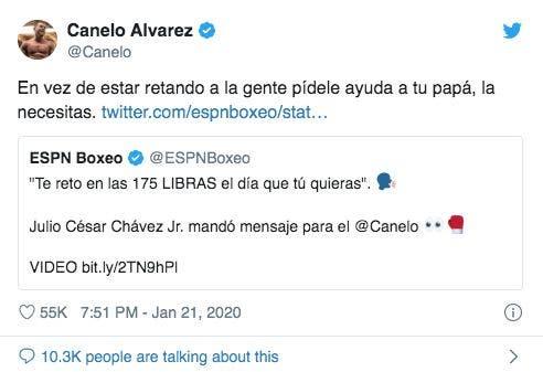 """Saúl 'Canelo' Álvarez: """"Pídele ayuda a tu papá"""" dijo a JC Chávez Jr"""