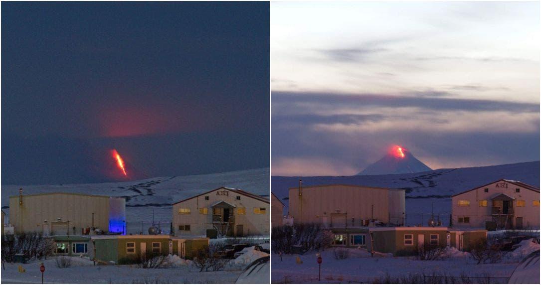 Calentamiento global va, erupción del volcán Shishaldin en Alaska