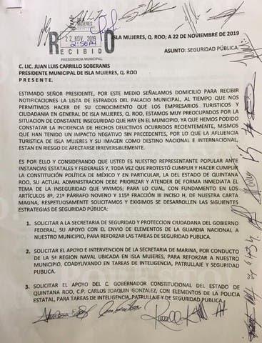 No mejora la seguridad en Isla Mujeres: Huicab; autoridades municipales hacen caso omiso a pliego petitorio de empresarios.