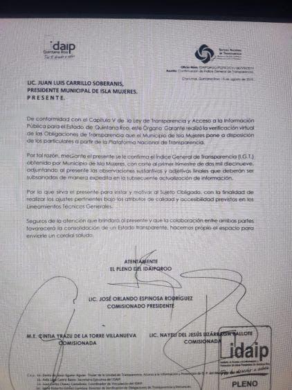 No cumple Isla Mujeres con la transparencia; advirtie el Idaipqroo posibles sanciones al municipio en caso de no cumplir con lo requerido.