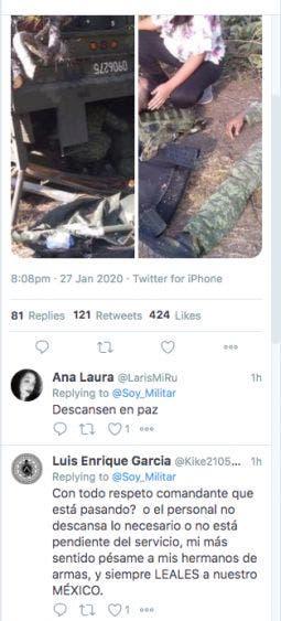 El perfil Soy Militar fué de los primeros en difundir el accidente