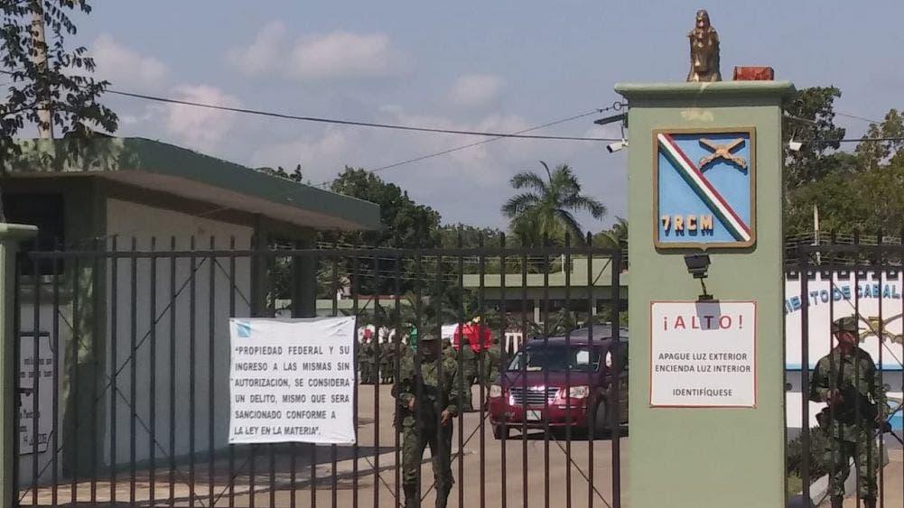 Base del Séptimo Regimiento de Caballería Motorizada en Chetumal en donde se despidió al militar fallecido