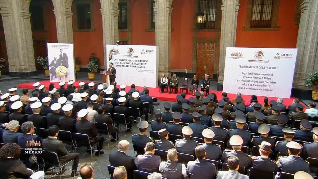 Democracia y justicia social para mexicanos, refirma AMLO; encabeza el presidente el 107 aniversario luctuoso de Madero y José M. Pino Suárez.