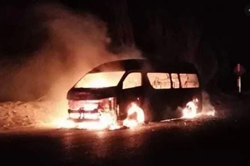 Se incendia una combi en Umán, Yucatán
