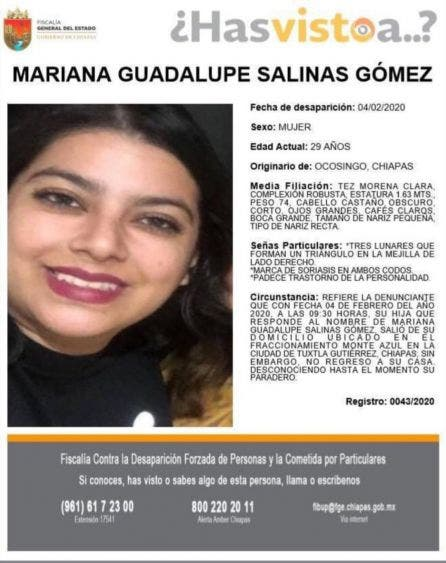 Reportan desaparición de una periodista en Chiapas; Mariana Guadalupe Salinas ya no volvió a su casa desde el 4 de febrero.