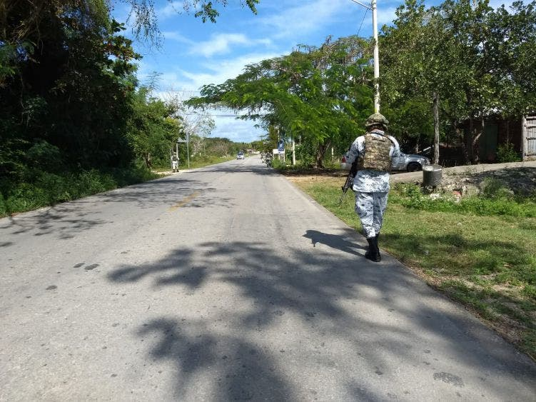 Patrullaje de la Guardia Nacional en Felipe Carrillo Puerto.