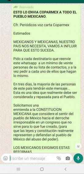 Se desliga Coparmex Cancún de chat que piden freno a derroche de diputados; Adrián López aclaró enfáticamente que el mensaje es falso.