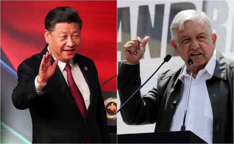 El presidente de China Xi Jiping y el mandatario de México, Andrés Manuel López Obrador.