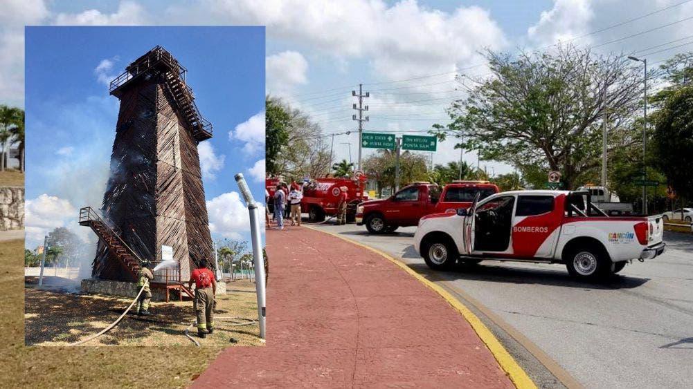 Se incendia antigua torre de control de aeropuerto de Cancún