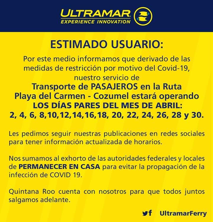 Alternarán sus operaciones las navieras en Playa del Carmen; Ultramar y Winjet darán servicio un día sí y otro hacia la isla de Cozumel.
