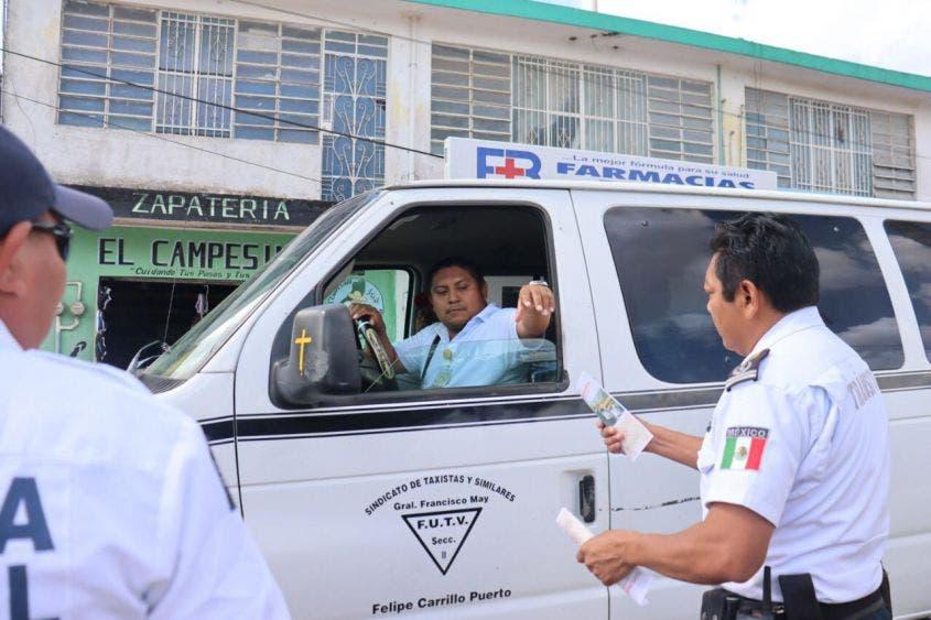 Refuerzan filtros sanitarios en Felipe Carrillo Puerto.
