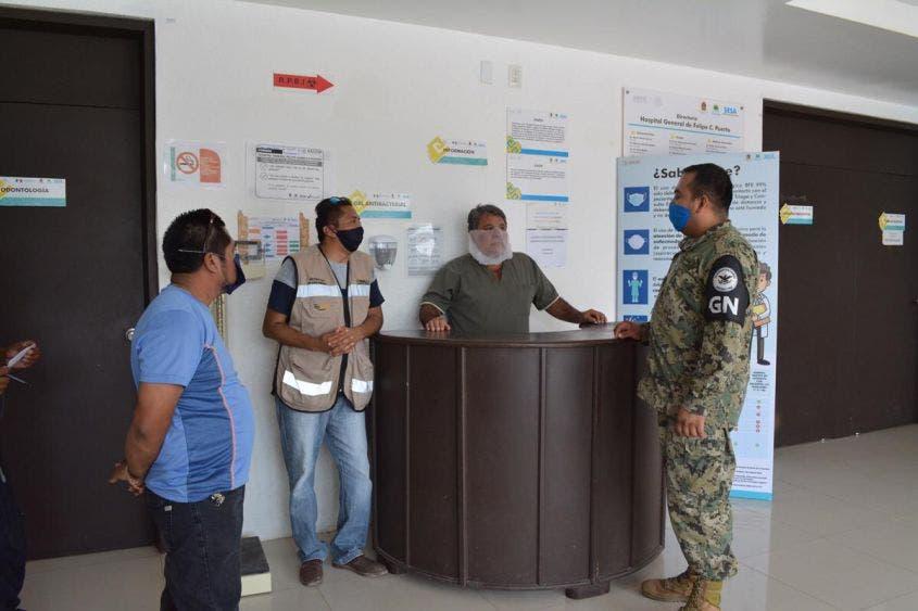 Guardia Nacional refuerza seguridad del Hospital General de FCP.