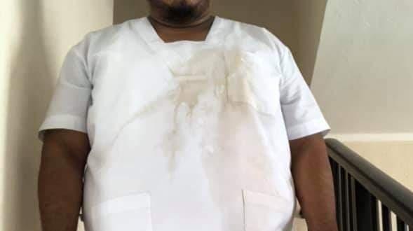 Enfermero agredido; le tiran refresco.- Foto: Yucatán al Instante.