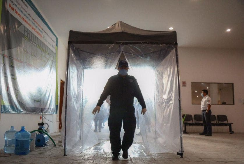 En las instalaciones de la dirección de seguridad Publica portomorelense se extremaron las medidas de precaución para proteger a los elementos