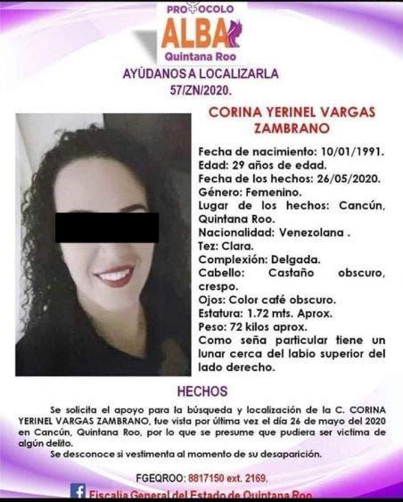 Investiga la FGE feminicidio de venezolana en Cancún; la mujer había sido reportada como desaparecida desde el martes.