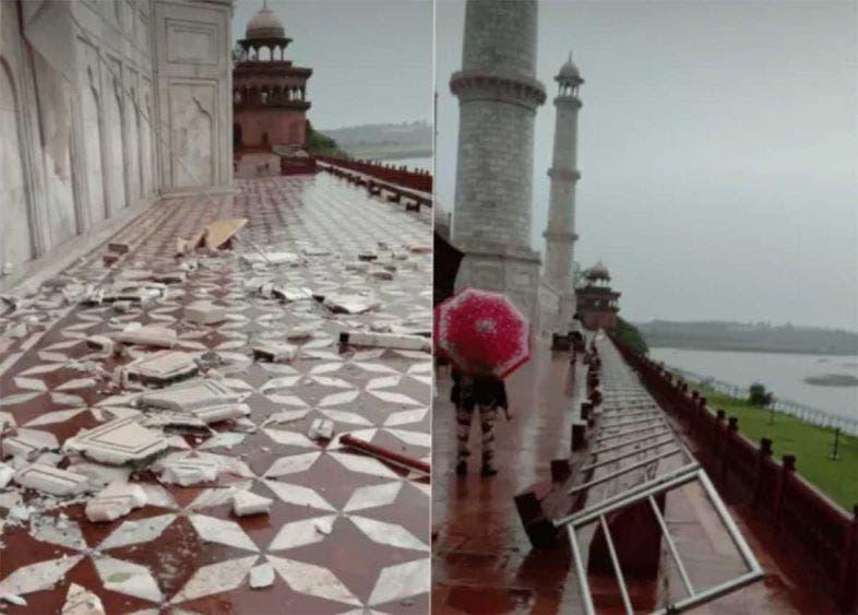 Lluvias dejan 13 muertos en India y dañan el Taj Mahal; una serie de fuertes tormentas azotan desde el viernes la región de Agra.