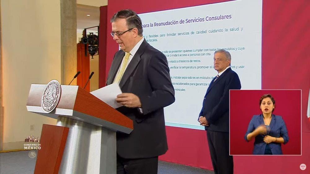 Participación del canciller Marcelo Ebrard durante la conferencia matutina del Presidente Andrés Manuel López Obrador.