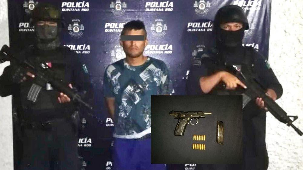 Detiene la Policía Municipal a un sujeto con un arma de fuego en Tulum