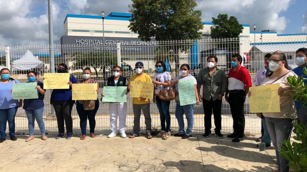 Nueva protesta de personal del Hospital General de Cancún