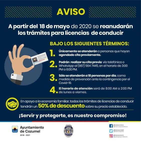 En Cozumel reanudan trámite de licencias de conducir con 50% de descuento; se atenderá únicamente a las personas con citas previas.