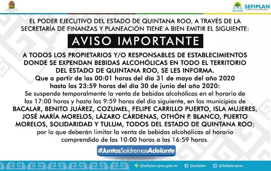 Extienden restricción de venta de bebidas alcohólicas hasta el 30 de junio.