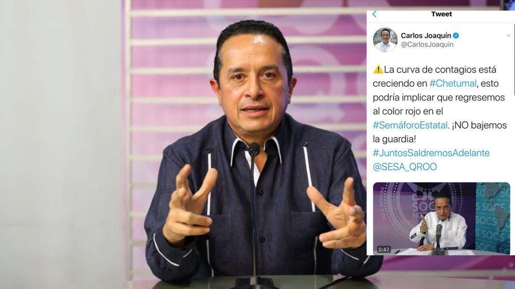 Advierte Carlos Joaquín crecimiento en curva de contagio
