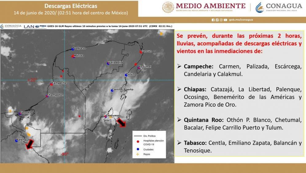 Pronóstico del clima para hoy domingo 14 de junio del 2020; se prevén lluvias muy fuertes en la Península de Yucatán.