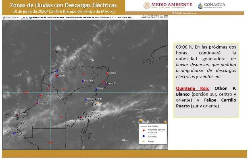 Pronóstico del clima para hoy domingo 28 de junio de 2020; se esperan lluvias puntuales muy fuertes en algunas regiones del país.