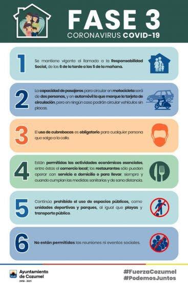 Cambian las reglas para movilizarse en vehículo en Cozumel; podrán viajar dos personas en moto y es obligatorio el uso de cubrebocas.