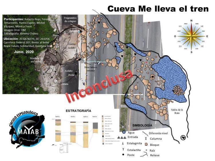 Riesgo de colapso mayor en boquete carretero en Playa del Carmen; se mantiene una guardia para evitar accidentes en la zona.