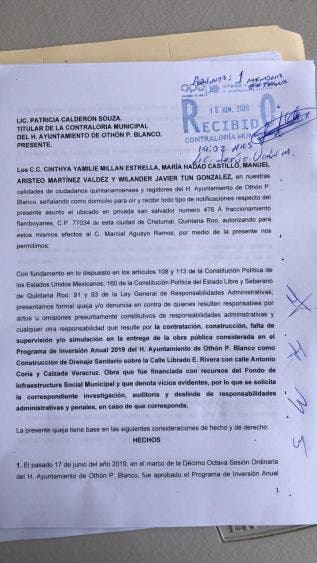 Denuncian ante la Contraloría de OPB a funcionarios municipales; detectan concejales actos de corrupción en la ejecución de obras.