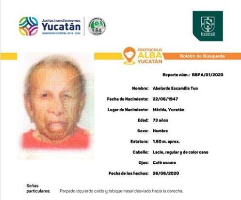 Solicitan ayuda para localizar a abuelito extraviado en Mérida