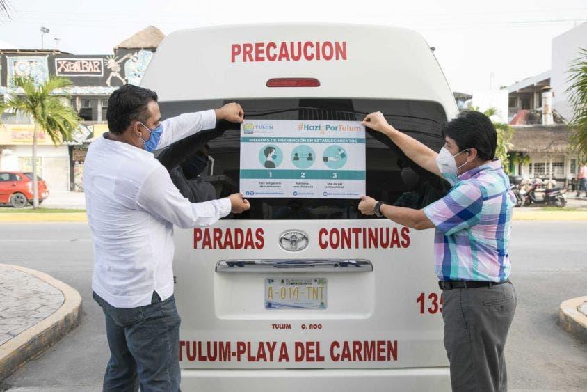 Entrega micro perforados al sector comercial y de transporte público con indicaciones.