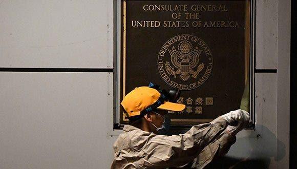 Estados Unidos cierra oficialmente su consulado en Chengdu, China.