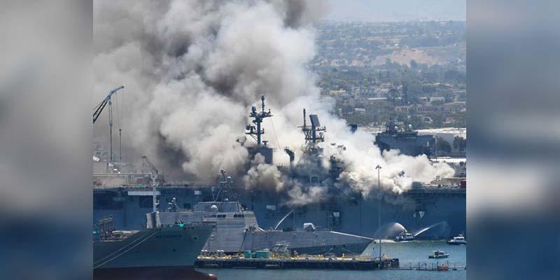Buque militar se incendia y deja 21 heridos en San Diego