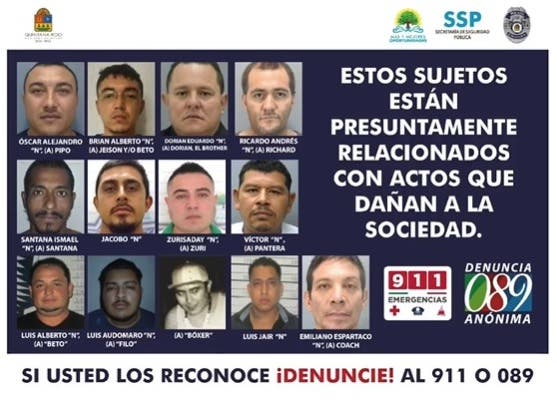 Lanzan la lista de criminales más buscados en Quintana Roo.