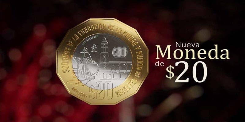 Comienza a circular la nueva moneda de 20 pesos en México