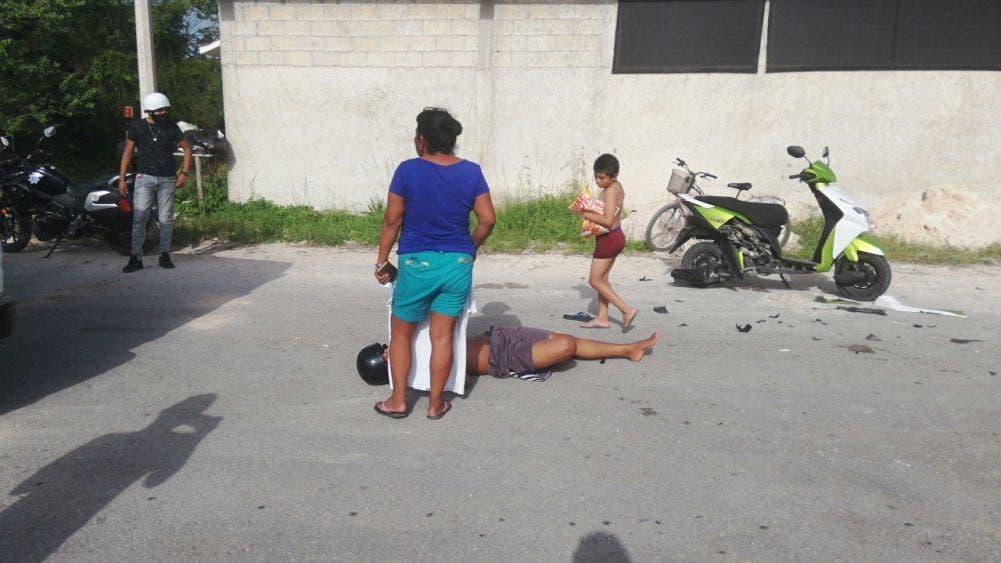 Un lesionado en choque de motos en Felipe Carrillo Puerto.