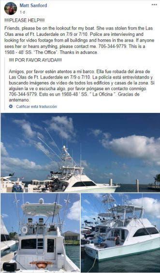 Recuperan en Quintana Roo yate robado en La Florida; la embarcación fue detectada en Xcalak durante una inspección de la Capitanía.