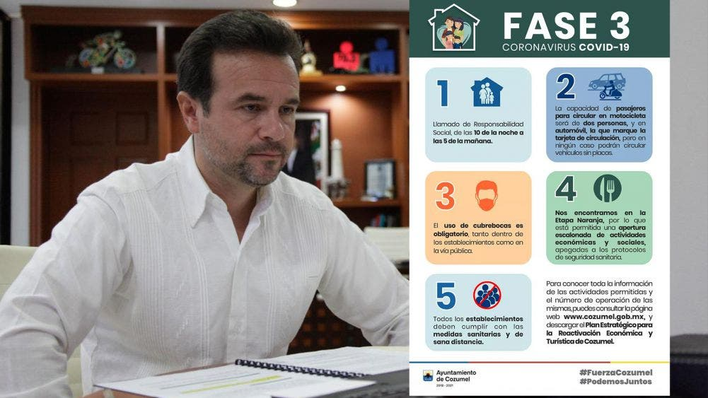 Cozumel permanece en color naranja del semáforo epidemiológico