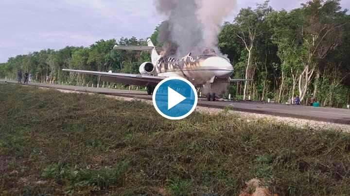Video: Aterriza supuesto 'narcojet' en carretera de José María Morelos.