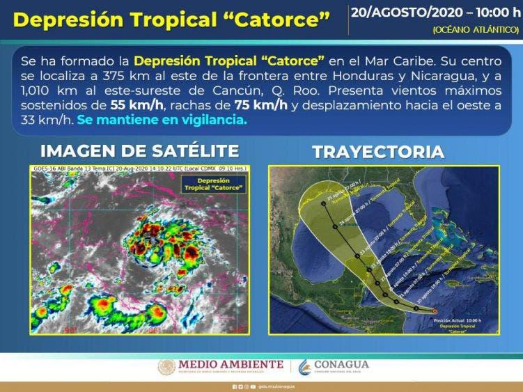 Piden no alarmar a la población ante la amenaza de la depresión tropical 14.