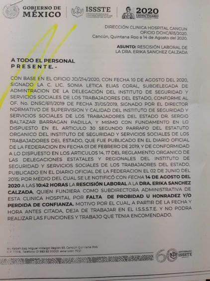 El documento oficial fechado el 14 de agosto de 2020, notifica que la subdirectora Erika Sánchez Calzada quedó rescindida laboralmente por falta de probidad y honradez y/o pérdida de confianza.