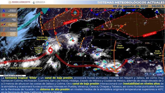 Pronóstico del clima para hoy domingo 9 de agosto.