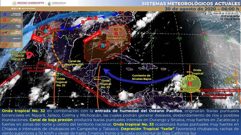 Clima en Quintana Roo hoy domingo 30 de agosto de 2020.