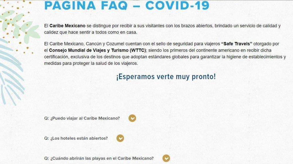 Sube CPTQ información Covid al sitio web del Caribe Mexicano