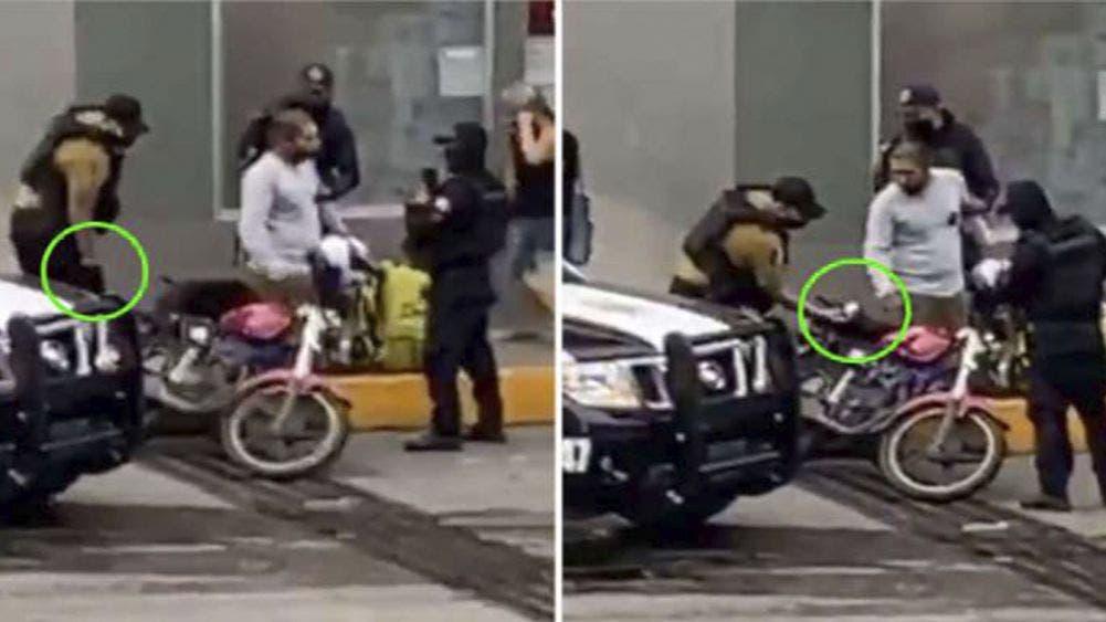 Exhiben en redes sociales a policía que 'siembra' droga a repartidor