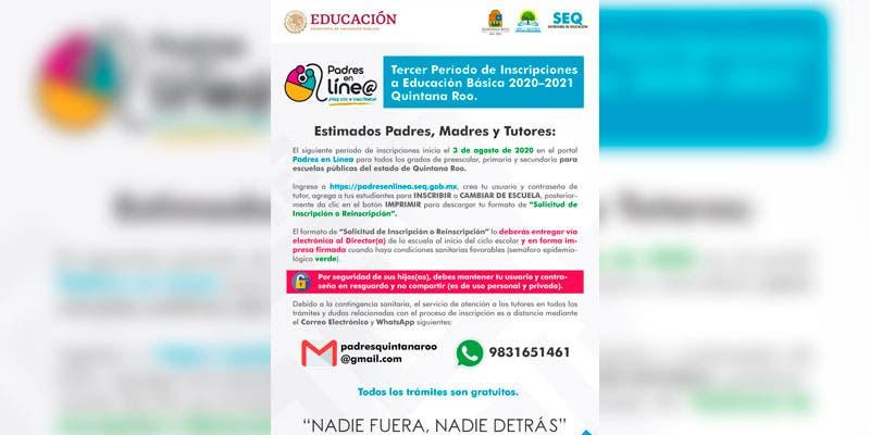 Inicia proceso de inscripción o reinscripción en línea en Quintana Roo.