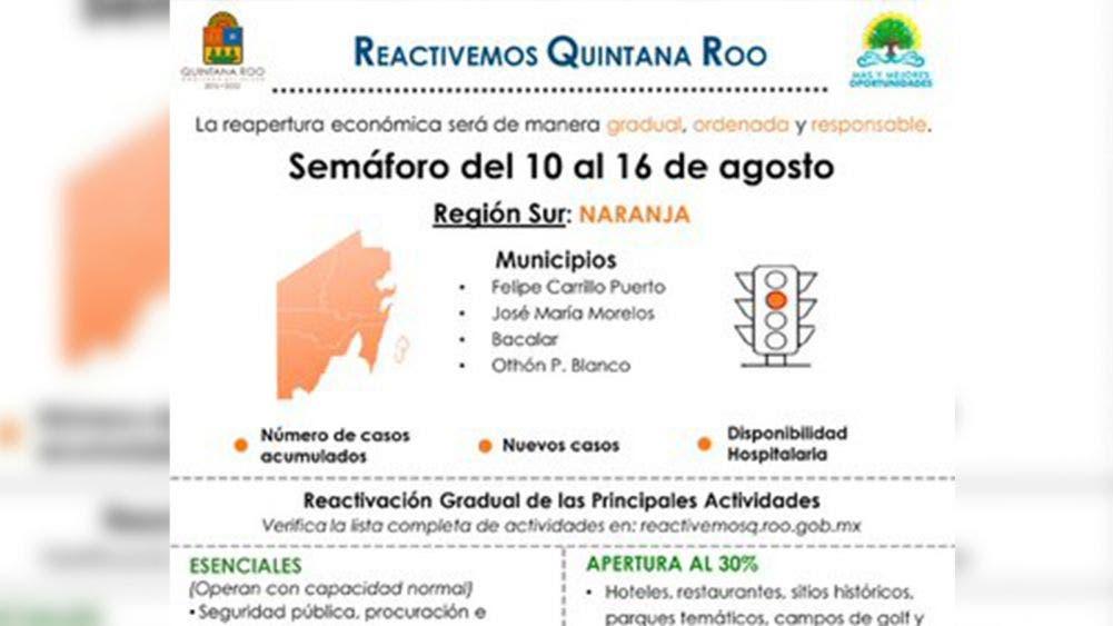 Quintana Roo vuelve a color naranja: Carlos Joaquín