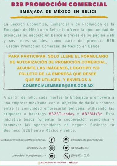 Promueven oportunidades de negocios entre México y Belice.